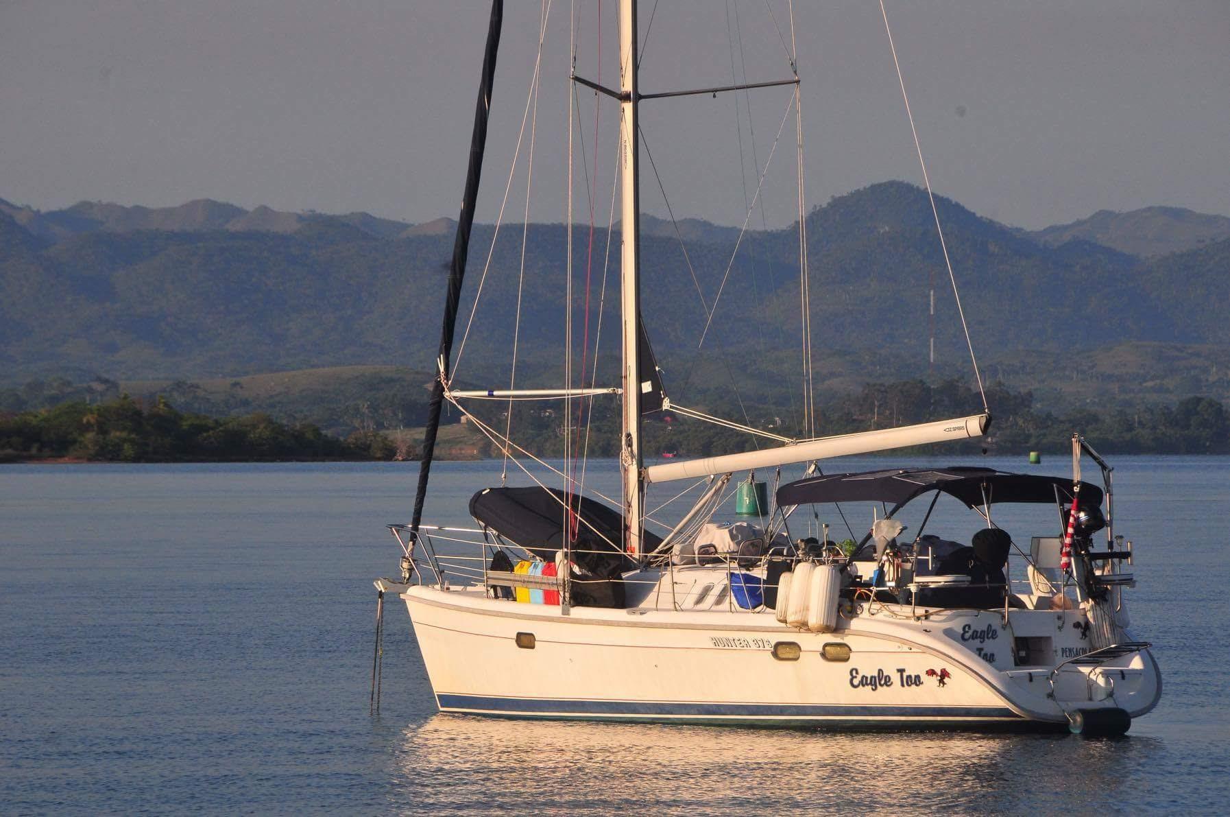 Eagle Too in full cruising trim at anchor in Bahia Honda, Cuba in May 2016